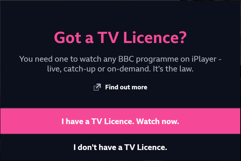 BBC iPlayer TV License